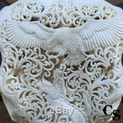 Hand Carved Longhorn Buffalo Skull Head, Eagle vs Dragon, Animal Skull Head
