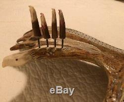Hand Carved Moose Antler Cribbage Board In Eagle Shape