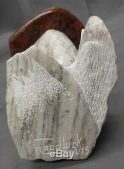 Hand Carved Native American Navajo Art Stone Eagle Sculpture Ron Goodluck