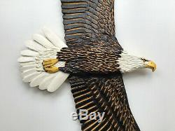 Hand Carved SOARING BALD EAGLE Wood Wall Fine Art Carving Chainsaw Lodge decor