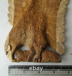 Hand Carved Teak Wood Fishing Eagle Wall Ornament 22 X 8 inches