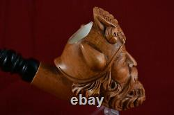 Hand Carved Viking with Eagle Figure, Unsmoked Pipe, Block Meerschaum