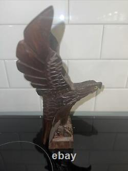 Hand Carved Wood American Bald Eagle MCM Americana Folk Art Excellent Cond
