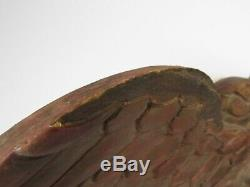 Hand Carved Wood American Eagle Folk Art Red Gold Paint Shield Arrows 24 Wide