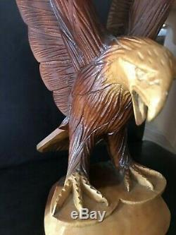Hand Carved Wood Bald Eagle