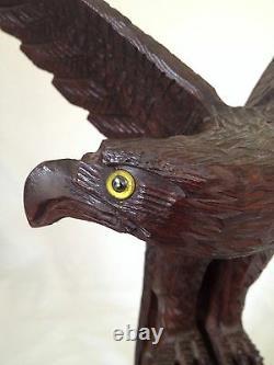 Hand Carved Wood Eagle Large American Folk Art