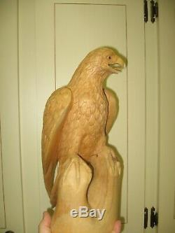 Hand Carved Wood- Golden Eagle on Perch-14.75 Signed By John Sinn, Ocala, FL