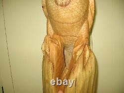 Hand Carved Wood- Golden Eagle on Perch- 15 Tall, By John Sinn, Ocala, FL