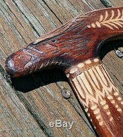 Hand Carved Wooden Cane Walking Stick Bird Eagle Folk Art Unique Hiking Decor