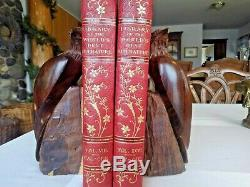 Hand Carved Wooden Hawk Eagles Bookends Heavy Dense
