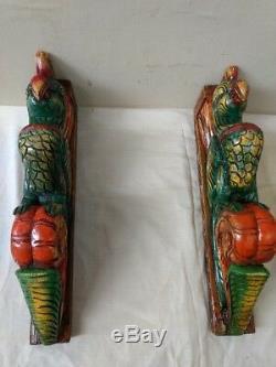 Hand carved Eagle Wooden Wall Corbel Bracket Pair Bird Sculpture Art Decor Rare