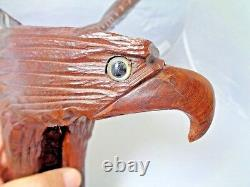 Hand-carved Wooden Eagle approx. 14 inches tall carved from 1 piece of wood