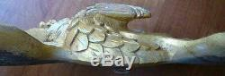 Hand carved gilded painted AMERICAN BALD EAGLE large wall wood plaque 44in/112cm