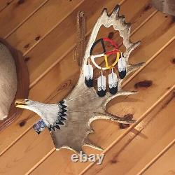 Hand carved moose antler eagle with medicine wheel Tony Ramer please read desc