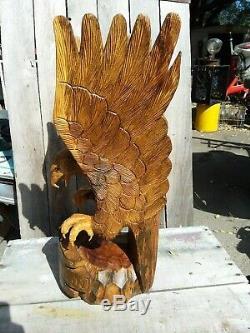 Hand carved wood eagle Harley-Davidson