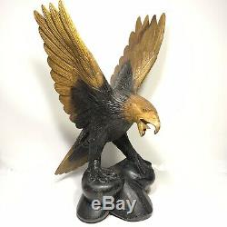 Hand carved wooden eagle 15x10