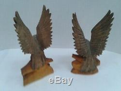Hand carved wooden eagles and egg made in Russia