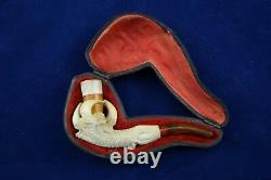 Handcarved Meerschaum Pipe Amber Eagle Dragon Claw Original Case