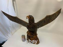 Handmade Handcarved Unmarked Wooden Eagle Sculputre Wings Spread 47'' Wide