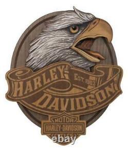 Harley-Davidson Hand Carved Wood Eagle Bar & Shield Logo Pub Sign HDL-15322