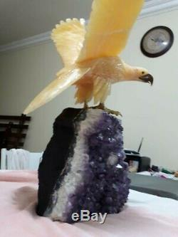 Huge Fighting EAGLE Stone Bird Figurine Hand Carved in Brazil on Amethyst Base