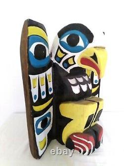 Huge Hand Carved Painted Northwest Coast Haida Fetish EAGLE Sculpture Signed