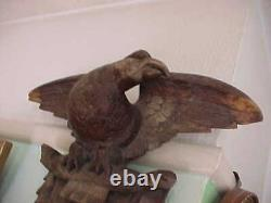 Huge Victorian Hand Carved Swiss Black Forest Eagle Wall Mounted Hat Stand