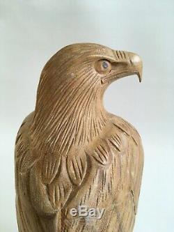 Indonesian Eagle Sculpture Hibiscus Wood Hand-Carved Folk Art Bali 1980s