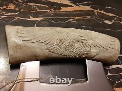 KEVIN VAUGHN Handmade Hand Carved Eagle Alaskan Ulu Knife Caribou Antler SHARP