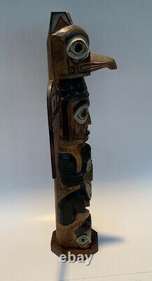 Large 16.5 HAND CARVED TOTEM POLE SIGNED PATRICK SEALE EAGLE BOY ALASKA INUIT