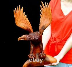 Large 20 Tall Hand Wooden Carved Eagle! Eagle01
