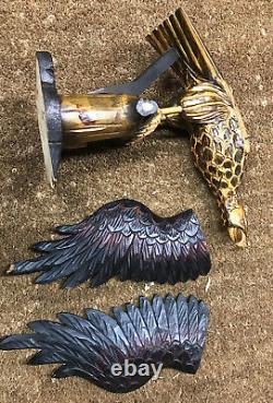 Large Antique FOLK ART Hand Carved Wood AMERICAN EAGLE