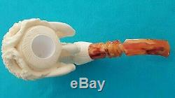 Large Eagle Claw Block Meerschaum Hand Carved & Signed by Artisan Medet