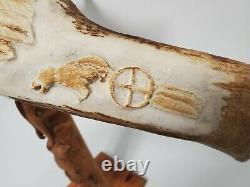 Large Native American Indian W. Bondy Hand Carved Moose Antler / Flying Eagle