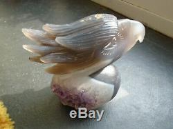 Large Natural Blue/Grey Agate hand carved Eagle head with Amethyst druse