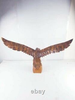Large hand carved vintage wooden Eagle Classic United state Dark Light Brown