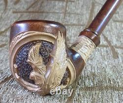Long stem Wooden Tobacco smoking pipe Pear wood HandCarved Eagle Gorgeous pipes