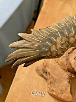 MINIATURE Hand Carved Painted BALD EAGLE SOARING Log Base Stunning Detail Signed