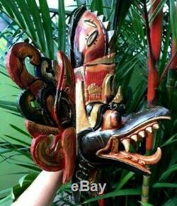 Mask Garuda Hindu Eagle Barong Bali Wood Hand Carved Painted Decor Wall Hang Art