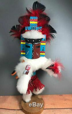 Masked Eagle Dancer Kachina Hand Carved Signed Native American For Repair(WS)