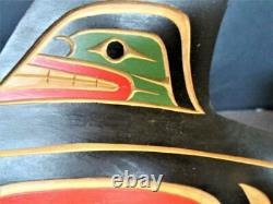 Matthew Baker Squamish Nation Canada Hand Carved Wood Whale / Eagle Sign Kt7123