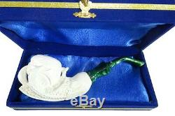 Meerschaum Pipe, Skull in Eagle's Claw Hand Carved With Case White-ish