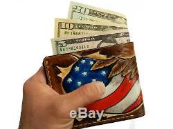 Men's 3D Genuine Leather Wallet, Hand-Carved, Bald Eagle, United States Flag