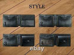 Men's 3D Genuine Leather Wallet, Hand-Carved, Harley Davidson, Eagle, Engine