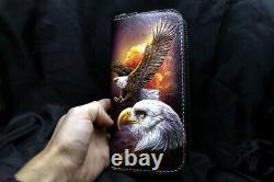 Men's 3D Genuine Leather Wallet, Long wallet, Hand-Carved, Tooled Wallet, Eagle