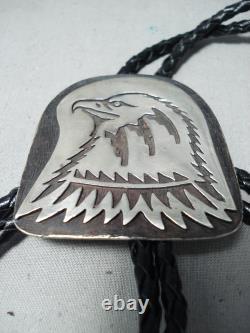Mesmerizing Navajo Native American Handcarved Sterling Silver Eagle Bolo