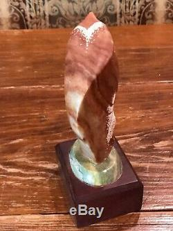 NAVAJO STONE EAGLE WARRIOR 1994 By Rodney Goodluck HAND CARVED SCULPTURE 8 Tall