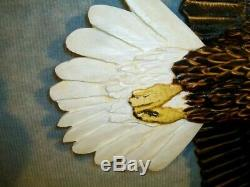 NEW! Hand Carved SOARING BALD EAGLE Wall Art Cabin Decor Chainsaw Wood Carving