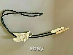 Native American Hand Carved From Bison Bone Flying Eagle Bolo Tie New Mint