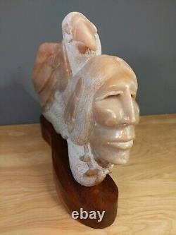 Native American Hand Carved Sculpture Crow Artist Robert Morning Gun Man Eagle